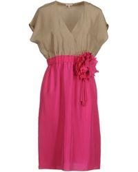 P.A.R.O.S.H. Short Sleeve V-Neckline Pink Short Dress - Lyst