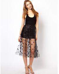 Ashish Net Full Skirt with Polka Dot Sequins - Black