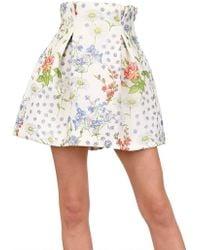 Caterina Gatta - Printed Crepe De Chine Skirt - Lyst