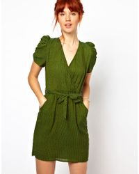 Ganni Belted Dress in Polka Dot Print - Lyst