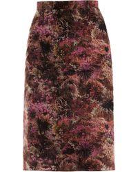 Lulu & Co Palmprint Pencil Skirt - Purple
