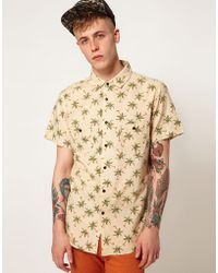 Izzue - Afends Shirt Dr Squiz Short Sleeve All Over Palm Print - Lyst