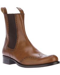DSquared² Brogue Chelsea Boot - Brown