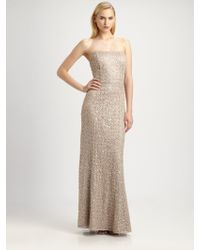 Kay Unger Strapless Sequined Lace Gown - Lyst