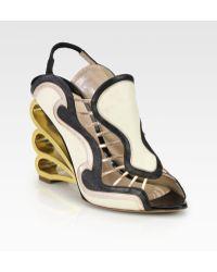 Nicholas Kirkwood - Mixed Media Swirl Wedge Sandals - Lyst