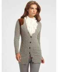 Ralph Lauren Blue Label - Suedepatch Woolcashmere Sweater - Lyst