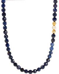 Shamballa Jewels - Sapphire Diamond Gold Bead Necklace - Lyst