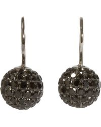 Shamballa Jewels - Black Pave Diamond Rhodium Ball Drop Earrings - Lyst