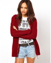 ASOS Collection Zip Front Hoody red - Lyst