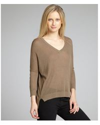 Autumn Cashmere Cocoa Linen-Blend Knit High-Low Sweater - Lyst