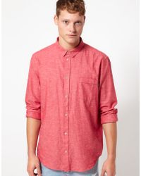 Cheap Monday Neo Chambray Shirt - Red