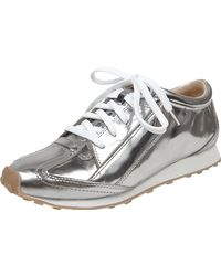 Elizabeth And James Metallic Leather Sneaker silver - Lyst