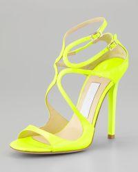 Jimmy Choo Lang Patent Strappy Sandal - Lyst