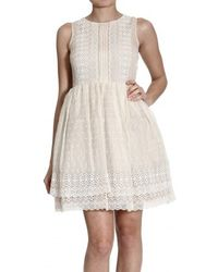 RED Valentino Lace Sleeveless Dress beige - Lyst