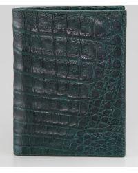 Santiago Gonzalez Crocodile Passport Cover - Green