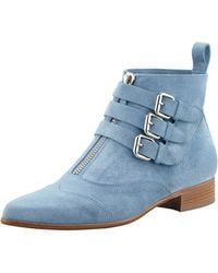 Tabitha Simmons Suede Ankle Boot Blue - Lyst