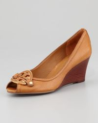 Tory Burch Sally 2 Leather Wedge Pump Tan-gold brown - Lyst