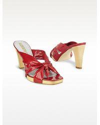 Alberto Gozzi - Red Patent Leather Platform Sandal Shoes - Lyst