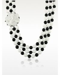 Az Collection Black & White Camelia Clasp Glass Pearl Necklace - Lyst