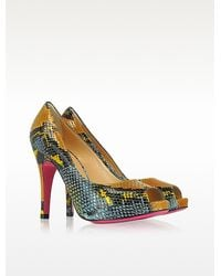 Luciano Padovan Pythonembossed Leather Opentoe Pump - Lyst