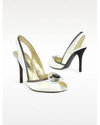 Mario Bologna - Opalescent White Patent Leather Sandal Shoes - Lyst