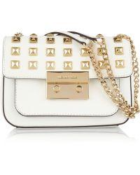 MICHAEL Michael Kors Sloan Studded Leather Shoulder Bag gold - Lyst