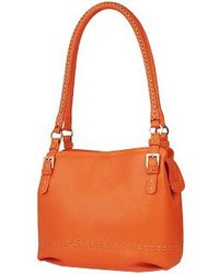 Fontanelli Orange Stiched Soft Leather Handbag