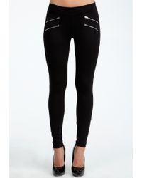 Bebe Zipper Legging - Lyst