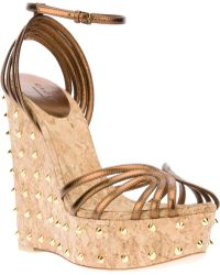 Gucci Wedge Sandal gold - Lyst