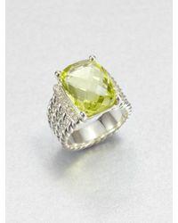 David Yurman - Diamond Lemon Citrine and Sterling Silver Ring - Lyst