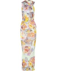 Aminaka Wilmont Printed Stretch-Sateen Jersey Maxi Dress - Lyst