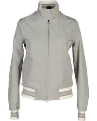Cavalleria Toscana Sleek Stretch-Crepe Bomber Jacket - Gray