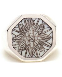 Duffy - Sterling Silver Engraved Signet Ring - Lyst