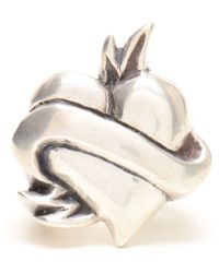Duffy - Sterling Silver Heart and Scroll Ring - Lyst
