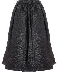 Carven Black Satin Cropped Top black - Lyst
