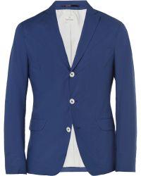 Hartford Slimfit Unstructured Cotton Blazer - Blue