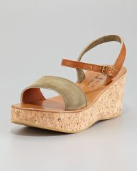 K. Jacques - Josy Suede Cork Wedge Sandal - Lyst