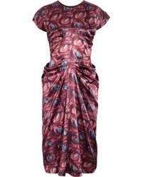 L'Wren Scott Printed Silk Satin Dress - Purple