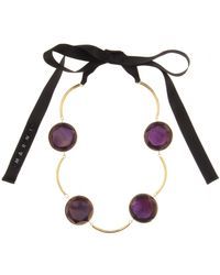 Marni Hinged Bezel Stone Necklace gold - Lyst