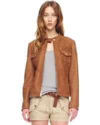 MICHAEL Michael Kors Leather Motorcycle Jacket - Lyst