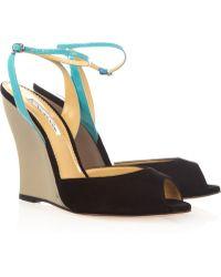 Oscar de la Renta Suede and Patent Leather Wedge Sandals - Blue