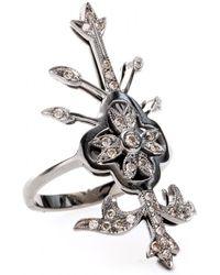 Roberto Marroni 18Kt White Oxidized Gold Macrame Ring With Brown Diamonds silver - Lyst