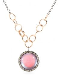 Roberto Marroni 18kt Oxidized Gold Chain Link Necklace With Mother Of Pearl Pendant And White Diamonds - Pink