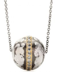 Roberto Marroni Niello Engraved Silver Ball Pendant Necklace With Gray Diamonds And 18kt Gold