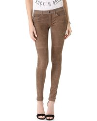 Superfine Suede Panel Skinny Jeans - Brown