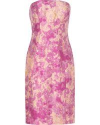 THEIA Strapless Jacquard Dress - Purple