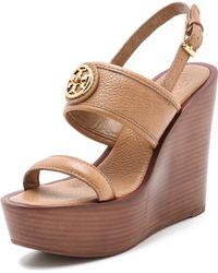 Tory Burch Selma Wedge Sandals brown - Lyst