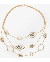 Alexis Bittar Delano Gold Triple Strand Stone Link Necklace - Lyst