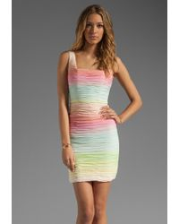 Alice + Olivia Alice Olivia Molly Fitted Ruched Tank Dress in Rainbow Ombre - Lyst