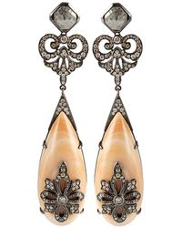 Bochic - Coral and Diamond Drop Earrings - Lyst